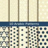 Reeks van tien naadloze vector Arabische traditionele geometrische patronen ontwerp voor dekking, verpakking, textiel vector illustratie