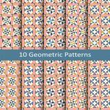 Reeks van tien naadloze vector geometrische patronen ontwerp voor tegels, dekking, textiel royalty-vrije illustratie