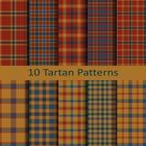 Reeks van tien naadloze vector in geruit Schots wollen stof vierkante Schotse patronen ontwerpmalplaatje voor dekking, doeken, ve Royalty-vrije Stock Afbeeldingen