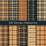 Reeks van tien naadloze vector vierkante Schotse geruit Schots wollen stofpatronen ontwerp voor dekking, textiel, verpakking, Ker Royalty-vrije Stock Foto