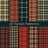 Reeks van tien naadloze vector vierkante Schotse geruit Schots wollen stofpatronen ontwerp voor dekking, textiel, verpakking, Ker Stock Afbeelding
