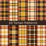 Reeks van tien naadloze vectorgeruit schots wollen stof kleurrijke patronen Stock Afbeeldingen