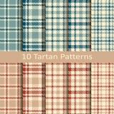 Reeks van tien naadloze vectorgeruit schots wollen stof kleurrijke patronen Royalty-vrije Stock Afbeelding