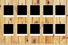 Reeks van tien oude lege polaroids Stock Foto's
