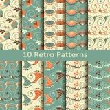 Reeks van tien retro patronen Stock Afbeeldingen