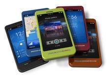 Reeks van touchscreen smartphones vector illustratie