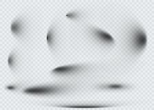 Reeks van transparante ovale schaduw met zachte geïsoleerde randen Vector illustratie Royalty-vrije Stock Foto