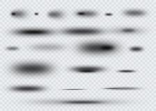 Reeks van transparante ovale schaduw met zachte geïsoleerde randen Vector illustratie Stock Foto