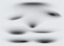 Reeks van transparante ovale schaduw met zachte geïsoleerde randen Vector illustratie Stock Foto's