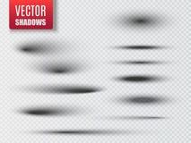 Reeks van transparante ovale schaduw met zachte randen Vector vector illustratie