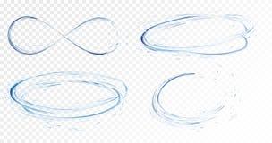 Reeks van transparante waterplonsen, cirkels, draaikolken, dalingen en kroon van het vallen in het water in lichtblauwe kleuren vector illustratie