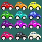 Reeks van twaalf multi-colored auto's Stock Foto