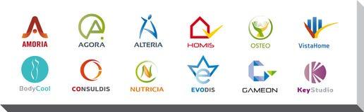 Reeks van Twaalf Pictogrammen en Logo Designs - Veelvoudige Kleuren en Elementen Stock Afbeeldingen