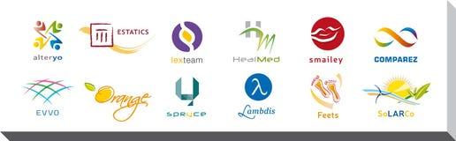 Reeks van Twaalf Pictogrammen en Logo Designs - Veelvoudige Kleuren en Elementen Royalty-vrije Stock Afbeeldingen