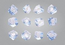 Reeks van twaalf transparante ijsblokjes stock illustratie