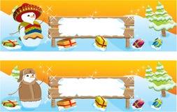 Reeks van twee banners van Kerstmis royalty-vrije illustratie