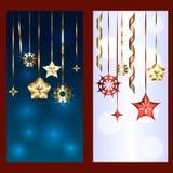 Reeks van twee banners voor Kerstmis en nieuw jaar Stock Afbeelding