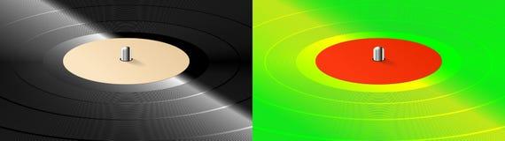 Reeks van twee beelden Realistisch muzikaal vinylverslag op spelerachtergrond stock illustratie