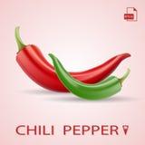 Reeks van Twee Chili Peppers Red And Green Stock Afbeelding