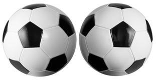 Reeks van twee die soccerballs met het knippen van weg wordt geïsoleerd royalty-vrije stock fotografie