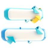 Reeks van twee geïsoleerdee bannerknopen Stock Fotografie