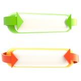 Reeks van twee geïsoleerdet bannerknopen Stock Fotografie