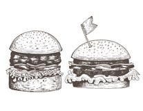 Reeks van twee hamburgers getrokken inkt Royalty-vrije Stock Afbeelding