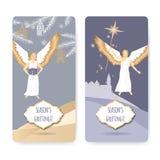Reeks van twee kaarten van de Kerstmisgroet met engelen stock illustratie