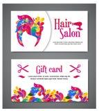 Reeks van twee malplaatjes van giftkaarten met kleurenornament voor druk of website Vector illustratie De kaartontwerp van de gif Royalty-vrije Stock Afbeelding