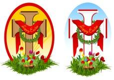 Reeks van twee Pasen kruisen Stock Afbeeldingen