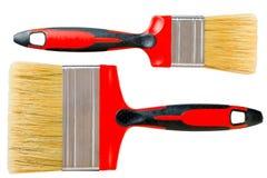 Reeks van twee rode geïsoleerde verfborstel Stock Foto