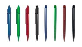 Reeks van twee types van pennen in verschillende kleuren royalty-vrije stock afbeeldingen