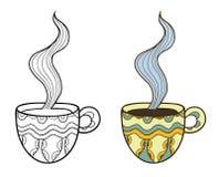 Reeks van twee vectorkoppen van de krabbelkoffie, overzicht en Royalty-vrije Stock Foto's