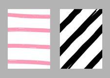 Reeks van twee verticale gestreepte met de hand getrokken malplaatjes Schets, grunge, verf Vector illustratie Wit, roze, zwart vector illustratie