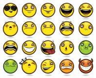Reeks van twintig grappige emoticons Stock Afbeelding