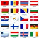Reeks van twintig vlaggen in stickerstijl Europa één van drie stock illustratie
