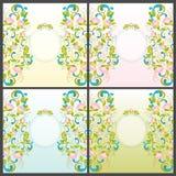 Reeks van uitnodiging met abstracte bloemenachtergrond Stock Fotografie