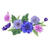 Reeks van uitstekend bloemen vectorboeket van tuinbloemen Stock Foto's