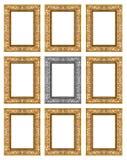 Reeks 9 van uitstekend goud - grijs die kader op witte achtergrond wordt geïsoleerd Royalty-vrije Stock Fotografie