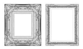 Reeks van uitstekend grijs kader met lege die ruimte op witte bedelaars wordt geïsoleerd Stock Fotografie