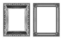 Reeks van uitstekend grijs kader met lege die ruimte op witte bedelaars wordt geïsoleerd Stock Foto's