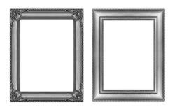 Reeks van uitstekend grijs kader met lege die ruimte op witte bedelaars wordt geïsoleerd Royalty-vrije Stock Afbeelding