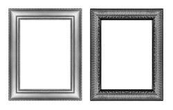 Reeks van uitstekend grijs kader met lege die ruimte op witte bedelaars wordt geïsoleerd Royalty-vrije Stock Afbeeldingen