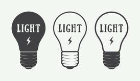 Reeks van uitstekend lampen en verlichtingsembleem, emblemen, kenteken vector illustratie