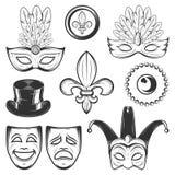 Reeks van uitstekend Mardi Gras en Venetiaans Carnaval die elementen in zwart-wit stijl verfraaien Stock Fotografie