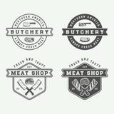 Reeks van uitstekend slachterijvlees, lapje vlees of bbq emblemen, emblemen, kenteken royalty-vrije illustratie