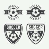 Reeks van uitstekend voetbal of voetbalembleem, embleem, kenteken Stock Foto's