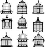 Reeks van 9 uitstekende birdcages Stock Foto's