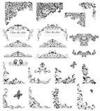 Reeks van uitstekende bloemen (zwart-witte) titel vector illustratie