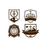 Reeks van uitstekende emblemen Christelijke kerk vector illustratie